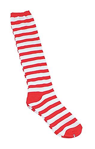 Bristol Novelty BA051 Clown Socken mit Streifen, Rot/Weiß