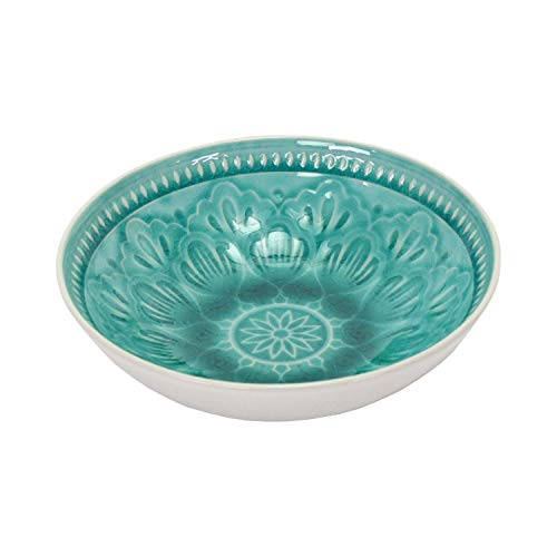2 x Dessertschalen Müslischalen Keramik Türkis Weiß Crackle Glaze 15cm Country Home Landhaus Mediterran Tapasschale - Crackle Glaze