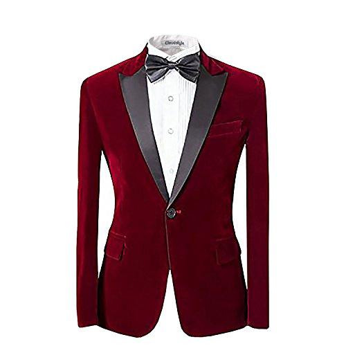 Uomo con risvolto center-vent One-Button Blazer Smoking Tuta Casual Dress Slim Fit Giacche e pantaloni Red L