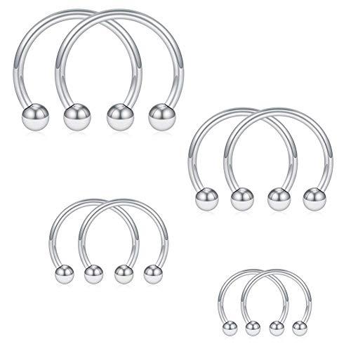 Acefun 8 pezzi 1.6mm orecchino in acciaio inossidabile piercing a ferro di cavallo per orecchio seno trago labbra naso setto orecchino anello cerchio,interno diametro 6/8/10/12mm