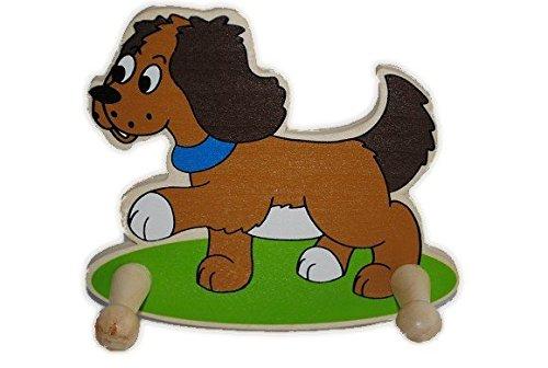 GARDEROBE KINDER 2 KLEIDERHAKEN Tiere Hund HOLZ Holzgarderobe Kindergarderobe