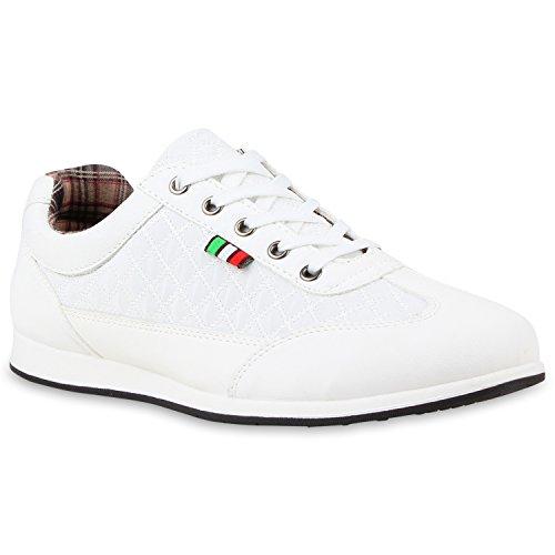 Stiefelparadies Herren Sneakers Gesteppt Denim Sport Sneaker Low Turn SchnürerFreizeit Leder-Optik Schuhe 113384 Weiss 41 Flandell (Gucci Schuhe Herren)