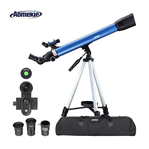Aomekie Refraktor Teleskop Astronomie 60/700 Telescope Astronomy für Kinder Einsteiger mit 10X Smartphone Adapter Ausziehbares Stativ Tasche Mondfilter und Aufrechtes Sucherfernrohr