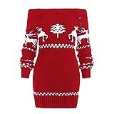 Sannysis Damen Weihnachtspullover Strickpullover Christmas Schulterfreies Sweater Sweatshirt Pullover mit Schneeflocken Strickwaren Tops