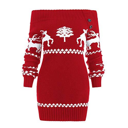 Damen Oberteile MYMYG Damen Weihnachtsbaum Elch Print Skew Neck oder aus der Schulter Gestrickte Botton Sweater Herbst und Winter Sweatshirt(rot,EU:38/CN-L)