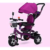 XMIMI Kids Trike Push Chair Childrens Guided Tricycle Removable Canopy & Seat Belt With Parent Handle Trike for More than 6 months