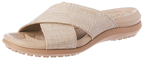 crocs Damen Capri Shimmer Xband Sandal Women, Weiß (Oyster/Cobblestone 1C4), 38/39 EU (Comfort Capris)