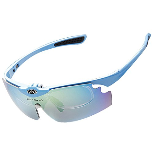 de5b069a64 OBAOLAY Polarized Anti-UV Cycling Glasses Sports Sunglasses 5 Exchangeable  Lenses