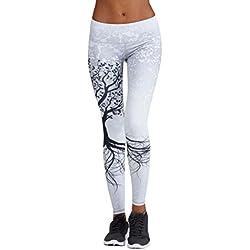 Mujer Pantalones Largos deportivos SMARTLADY Patrón de árbol Leggings para Running, Yoga y Ejercicio (M, Blanco)