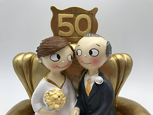 Mopec Pop & Fun Y500M- Figure for gold wedding cake, 50 anniversary, 16x16,5cm, dark gold color. Brown and gray hair