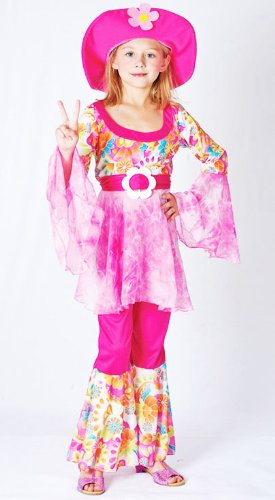 A Groovy Hippy Girl Fancy Dress Costume for 60'S and 70'S Flower Power Dress-Up - Ages 7-10 Yrs - peace, man!