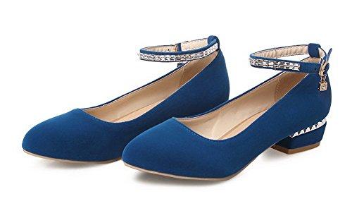 VogueZone009 Damen Mattglasbirne Rund Zehe Niedriger Absatz Schnalle Rein Pumps Schuhe Blau