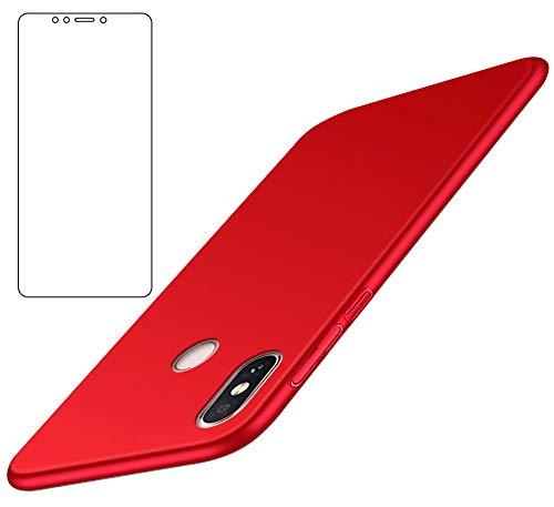 BLUGUL Tampa Xiaomi Mi Max 3 + vidro temperado, ultra fino, totalmente protecção, Sensação de seda, Filme de protecção e Hard Cases para Xiaomi Red Max 3