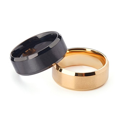 Bishilin Titan Männer Ring Titanring Hochglanzpoliert Rund Gothic Herrenring Freundschaftsringe Größe 54 (17.2) (Für Männer Titan-holz-ring)