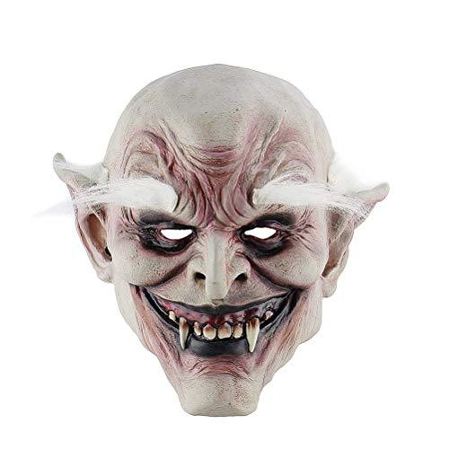 DollylaStore Einzigartige Mode-Maske Halloween Scary Maske Toothy White Augenbrauen Geistermaske Halloween Kostüm Party Requisiten Latex Masken Cosplay Maske Kopfmaske