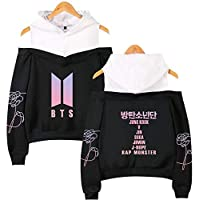 BTS off shoulder Hoodie sweatshirt album pattern printing women's fashion Hip Hop casual long-sleeved Hoodie
