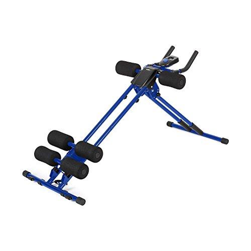 Klarfit AB Cruncher panca per addominali (sistema di rulli, 4 livelli, computer di allenamento integrato, diversi livelli di difficoltà, esercizi di fitness, allenamento completo) - blu/nero