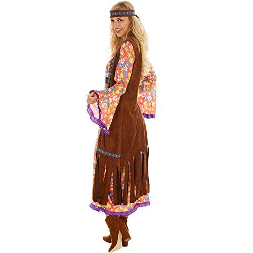Imagen de disfraz de hippie srta. peacemaker para mujer | espectacular eestido largo con chaleco de imitación de terciopelo | incl. cabeza m | no. 300933  alternativa