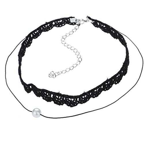 Yazilind Frauen Korean Vintage Schwarze Spitze Imitation Perle Silber plattiert Gliederkette Lätzchen Kragen-Halsketten
