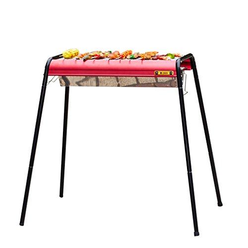 YONG- Barbecue extérieur rouge barbecue plus de 5 outils de barbecue plier épaissir charbon de bois