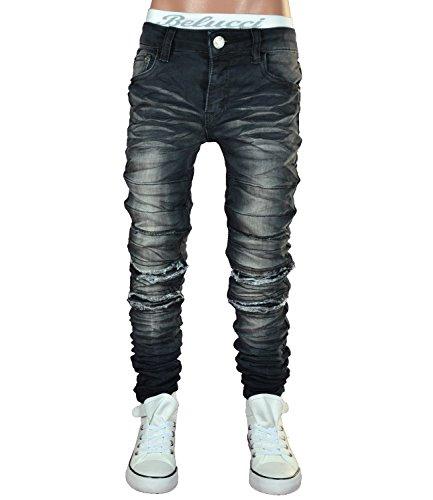 JT-003 SQUARED & CUBED Jeans Hose Junge Kinder black 122-170 (14 (ca.158-164))