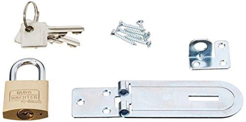 BURG-WÄCHTER Sicherheits-Vorrichtung für Vorhängeschloss, Set Überfalle + Schloss, Für flächenbündige Türen, PCC 80 + 222 30 SB