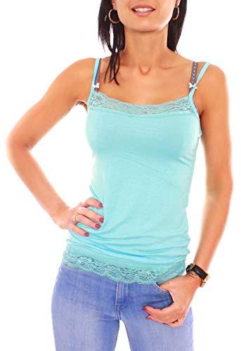 Damen Lingerie Spitzen Spaghetti Träger Jersey Top Unterhemd Ärmellos Eng Anliegend Slim Fit Uni One Size Aqua -