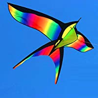FZSWD 172 cm Colorido Cometa GolondrinaHermoso Arco Iris Cometa Color Pájaro Cometas Control fácil Volar con manija Línea NiñosRegaloPresente