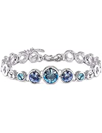NEVI Round Fashion Swarovski Elements Rhodium Plated Single Strand Bracelet Jewellery for Women And Girls (Blue & Silver)