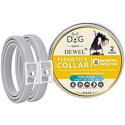 2Pack Collier Anti Puces pour Chien Imperméable, Protection Efficace Pendant 8 Mois Collier en Caoutchouc Anti-nuisibles, Formule Naturelle, Réglable -63.5cm (Gris)