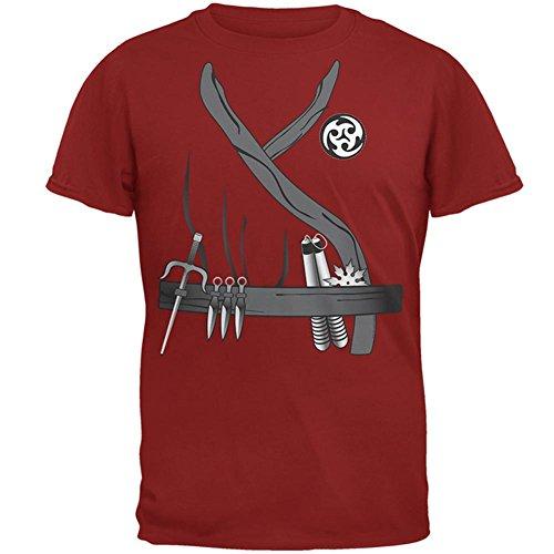 Halloween Ninja Assassin Kostüm Herren T Shirt Cardinal Red MD (Cardinaux En Kostüme)