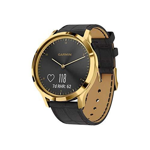 Garmin Vivomove HR Premium Smartwatch Analogico con Schermo LCD Touch, Sensore Cardio Integrato, Oro con Cinturino in Pelle Nero