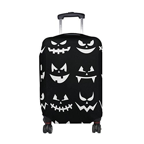 en Kürbis-Gesichter-Druck-Reise-Gepäck Schutz Waschbar Spandex Gepäck Koffer Abdeckung Abdeckungen - Passend für 18-32 Zoll M 23-26 in Mehrfarben (Scary Halloween Gesichter)