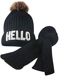Tpulling Bonnet Bebe, Enfant Jeune Fille   Boy bébé Hiver Crochet Bonnet  Poils Chapeau écharpe 2a43979e250