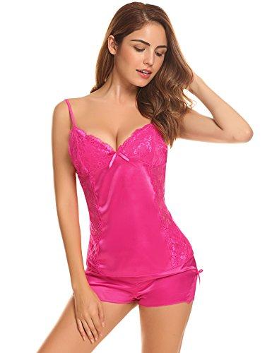 Aibrou Damen Nachtwäsche Kurzes Pyjama Set Silky Fleck Lace 2 Stück Strappy V Neck Weste & Hose Frau Nachtwäsche Pjs (Nachtwäsche Kurz)