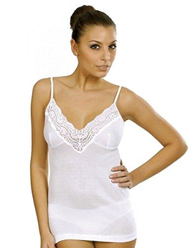 Vajolet by selina canottiera donna intimo in cotone filo di scozia spalla stretta ss5512 misure 3-4-5-6-7-8 bianco e nero (3 m it donna, bianco)