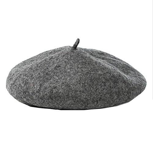 Cexin 1 pcs Béret à la mode chaud hiver Chapeau en laine et coton loisir pour femme -Taille unique gris foncé