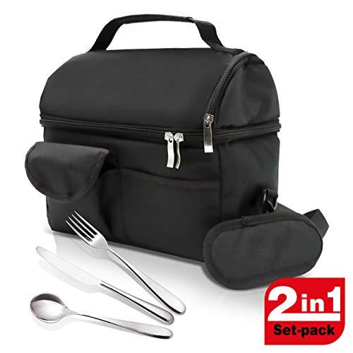 Spice borsa termica porta pranzo adulti bambini studenti + set 3 posate in acciao inox