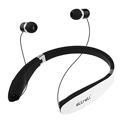 aLLreLi Soba Bluetooth 4.0 Headphones [Retractable & Foldable] Neckband Wireless Universal Stereo Headset for iPhone 8, Galaxy S8 and Other Bluetooth Enabled
