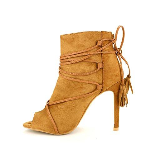 Cendriyon Bottine Camel Simili Peau LOREINYX Chaussures Femme Caramel