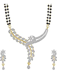 KAAYRA American Diamond Gold Plated Mangalsutra With Chain And Earring For Women - B0773WJXCV