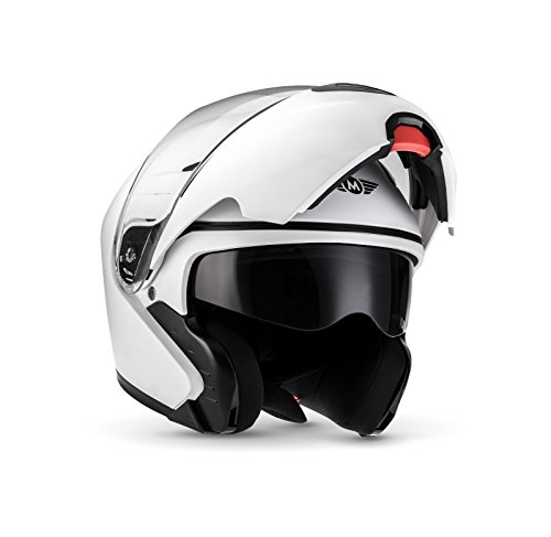 MOTO F19 Matt White · Urban Flip-Up Integrale Moto Sport Casco da mot