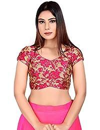 88682393defa2 Salwar Studio Women s Pink Brocade Readymade Padded Saree  Blouse(SSB2066 Pink)