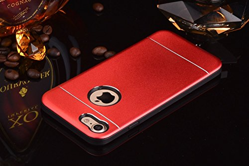 iPhone Case Cover Solid Color Line Effekt Metall + Kunststoff Silikon Hard Back Abdeckung für Apple IPhone 7 & 7 Plus ( Color : Rose Gold , Size : IPhone 7 ) Red