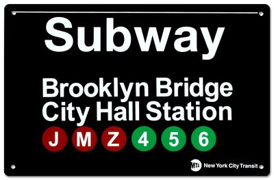New York City Subway Brooklyn Bridge City Hall Metal Sign - 28x43 cm