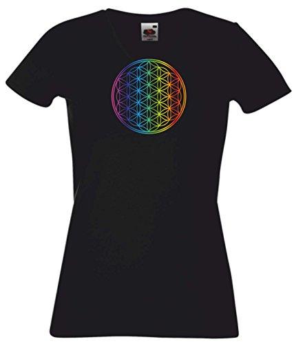 Preisvergleich Produktbild T-Shirt Damen schwarz mit Regenbogen Audruck - Blume des Lebens - Ornament - XL