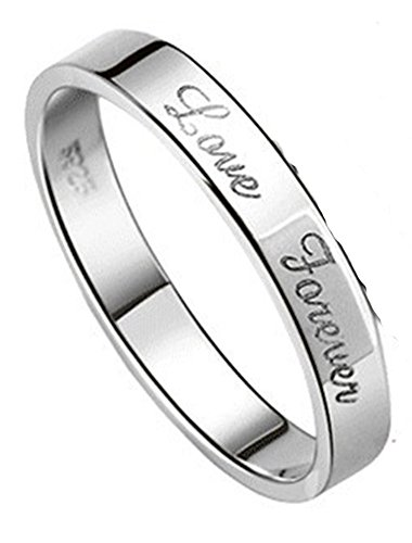 SaySure - 1 piece of 925 Sterling Pure Silver Love Forever Lover (SIZE : 8)