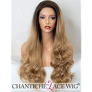 Chantiche Halloween Wavy Wigs for Women Long Synthetic Hair Ombre Brown Roots Blonde Lace Front Wig uk for Women High Quality Heat Resistant Fiber Half Hand Tied 24 inches