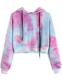 Mujer Blusa sudaderas tops otoño casual urbano streetwear,Sonnena Sudadera para mujer Blusa de Patchwork de manga larga con capucha Sudaderas con capucha
