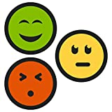 15 Smiley Magnete, Ø 4cm, 3 Farben: grün, gelb, rot - hält 3 DIN A4 Zettel, Ideal für Tafeln, Whiteboards, Belohnungstafeln, zum Projektmanagment